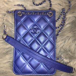 Chanel Blue iPhone / Cell Phone Quilted Leather